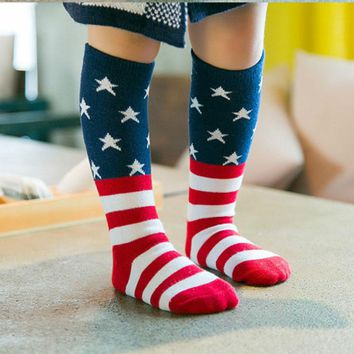 Unisex Baby socks Kids Girls Cute Princess Stripes stars American flag patton Knee High Socks for toddler boys/girls