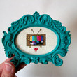 I love television -- small television cross stitch with heart, framed