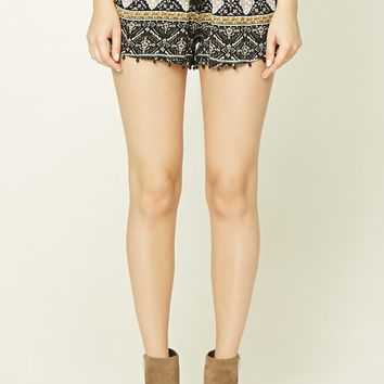 Ornate Print Beaded Shorts