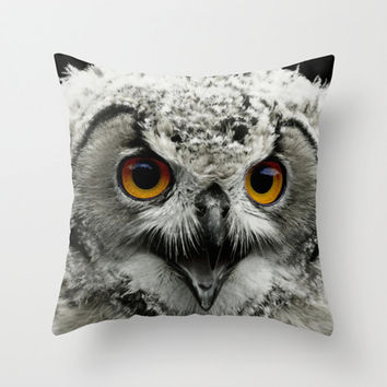 Owl cushion, owl pillow, grey pillow, grey cushion, owl home decor, throw pillow, throw cushion, pillow cover, bird decor, photo cushion