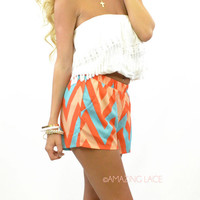 Saucie Bay Chevron Orange Shorts