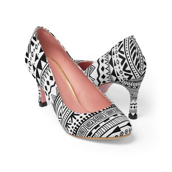 Women's Black/White African Tribal High Heels