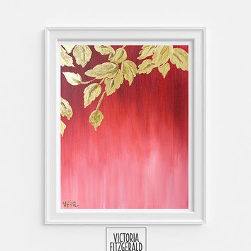 13x19 Inch Fine Art Print of original painting 'haecceity', Abstract Art, Enamel, Ombre Red, Gold Leaves,State of Being Alphabet Series