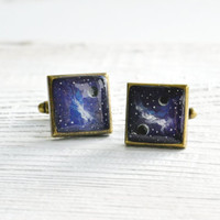 Hand painted cufflinks, galaxy, space, violet, black, white, blue