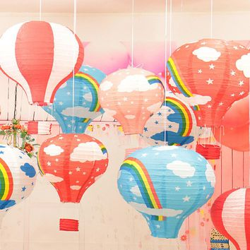 1 Pc Colorful Hanging Wedding Rainbow Hot Air Balloon Paper Lantern Party Decorations 30cm (12inch) Classic Ball Toys