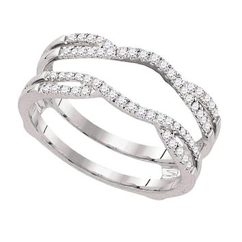 14kt White Gold Women's Round Diamond Wrap Ring Guard Enhancer Wedding Band 1/3 Cttw - FREE Shipping (US/CAN)