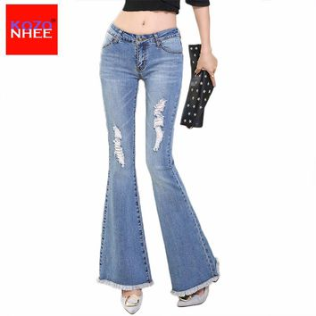 KOZONHEE Tassel Hole Ripped Flare Jeans Women Long Bell-Bottoms Jeans Stretching For Girls Trousers For Women Jeans Large Size