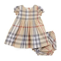 Luela Pleated Check Dress & Bloomers, Pale Stone,