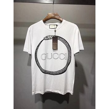 15c182522 Gucci Original T-Shirt with Gucci Ouroboros-Print Snake/White 10