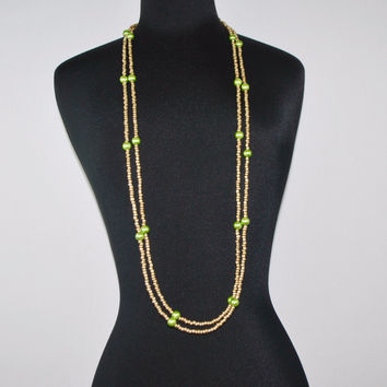Gold And Green Glass Pearls Ascent Rope Necklace