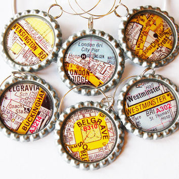 London maps, British wine charms, Wine Glass Charms, Wine Charms, Bottlecap wine charm, London, England, British, London Calling, travel