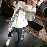 dolce gabbana women casual fashion sequin letter long sleeve pullover sweater tops