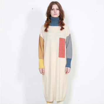 Apricot Geometric Printed Long Sleeve Turtleneck Sweater