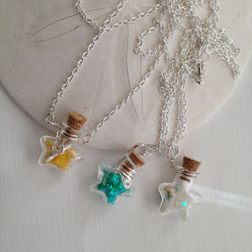 Tiny Star Glass Bottle Necklace by SolEMarDesigns on Etsy