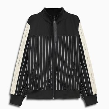 slim track jacket / black stripe + black + ivory