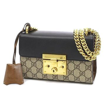 GUCCI Padlock GG Small ChainShoulder Bag Beige / Black 409487 Free Shipping