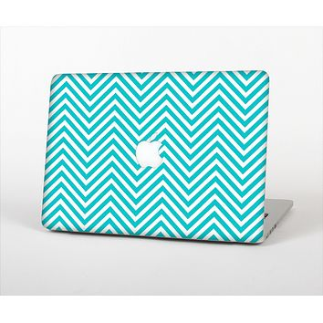 The Trendy Blue & White Sharp Chevron Pattern Skin Set for the Apple MacBook Air 11""