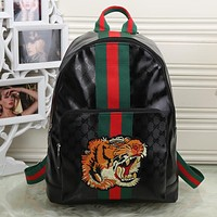 Gucci Women Fashion Leather Tiger Angry Cat Embroidery School Bookbag Backpack