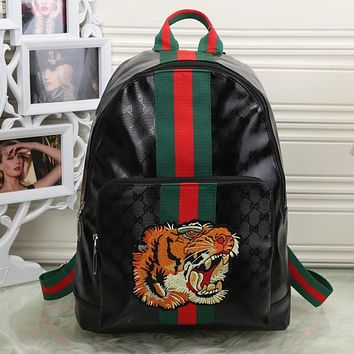 Gucci Women Fashion Leather Tiger Angry Cat Embroidery School Bo. Brand Gucci  Bags Type Backpack ... ab80ddecaafc3