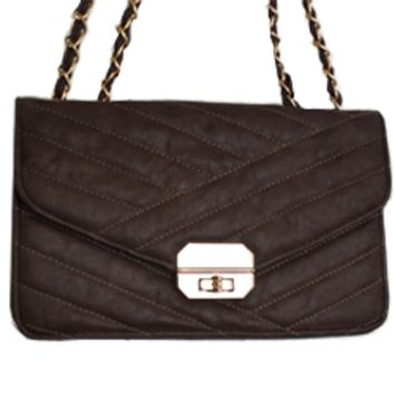 Urban Expressions Sophia Quilted Brown Shoulder Bag