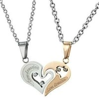 "KATGI Fashion Stainless Steel ""Love Devotion"" Heart Lover Couple Pendant Necklace (Set of 2)"