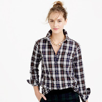 Petite boyfriend flannel shirt in dark plaid