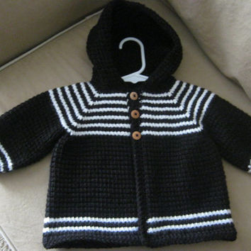 9f5ce31db Crochet Baby Boy Sweater with Hood - Black White - MADE TO ORDE