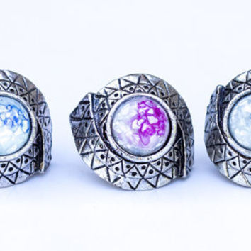 Moonstone Wolfs Eye Ring Silver Vintage Antique Style Adjustable Boho Chic Rings