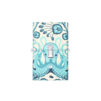 Octopus Light Switch Plate Cover / Nautical Bathroom Decor / Octo Garden Aqua Blue / Saltwater