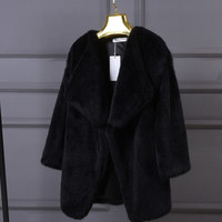 Irregular artificial wool fur flush coat Black