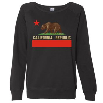 Don Pimentel California Republic Bear Flag Ladies Lightweight Fitted Crewneck