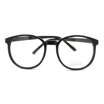 Geeky Thin Plastic Frame Large Round Clear Lens Eye Glasses
