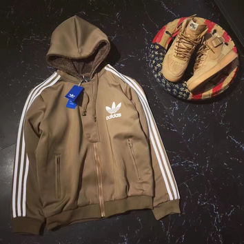 Adidas Original Winter Fashion Zipper Hooded Thickened Jacket Coat Sportswear Khaki