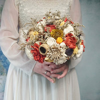 BIG ivory brown burnt orange yellow rustic autumn fall wedding BOUQUET sola flowers roses limonium lotos pine cones bell cup Burlap
