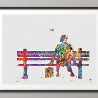 Forrest Gump Watercolor Art Print Quote Art Wall Art by CocoMilla