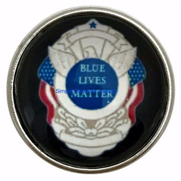Police Blue Lives Matter Snap 20mm for Snap Jewelry