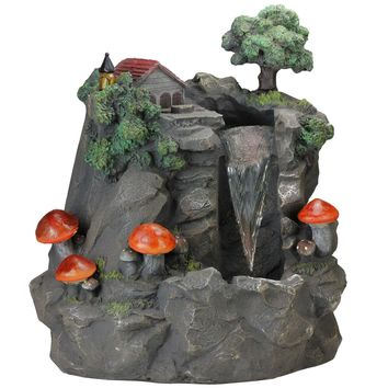 """24.5"""" Solar LED Lighted Mushrooms By Waterfall Outdoor Patio Garden Water Fountain"""