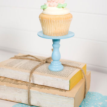 Mini Wooden Cupcake Stands Aqua by ThePaperedNest on Etsy