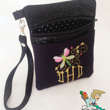 Mongrammed Vegan Leather Cell Phone Wristlet with Dragonfly