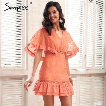 Simplee Chiffon hollow out summer dress Women batwing sleeve streetwear causal dress Ruffle pink short dress spring vestidos