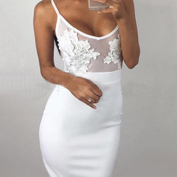 White Lace Embroidered Mesh Front Midi Dress