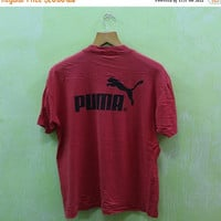 15% SALES Vintage 90s Puma Big Logo World Cup Streetwear Hip Hop Red Tee T Shirt