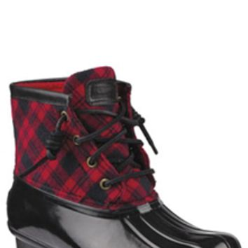 Sperry Top-Sider Saltwater Duck Boots for Women in Red and Black Plaid