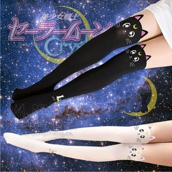 Cartoon Sailor Moon kawai cute Tight Stocking incarnadine D color black & white cat Silk stockings model toy