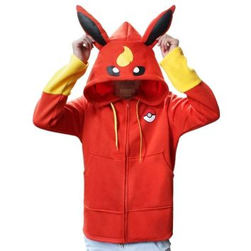 Totoro Pokemon Fire Ibe Ice Ibe Pikachu Pokemon Cartoon Sweater Thickening Zipper Autumn and Winter Style Red and Blue cos
