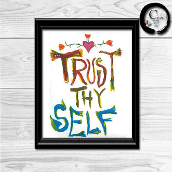 Trust Thy Self Where the Wild Things Are Nursery Printable, I Love You So Nursery, Nursery Art, Kids Bedroom quote art