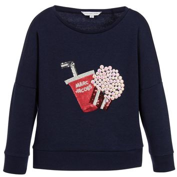 Little Marc Jacobs Girls Navy Blue Popcorn Sweatshirt (Mini-Me)