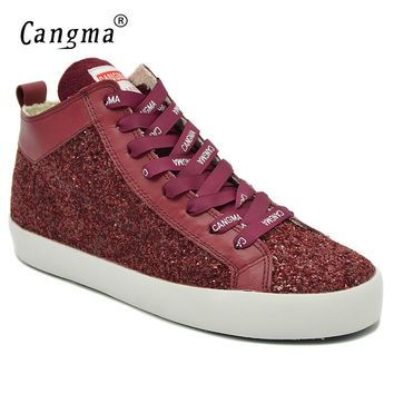 CANGMA Breathable Stylish Woman's Sequined Wine Red Shoes Mid Casual Shoes Women Sneakers For Girls Glitter Footwear Female