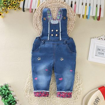 Baby Girl Clothing Spring Jeans Overalls Lace Rompers Jumpsuit For Toddler Infant Denim Coveralls