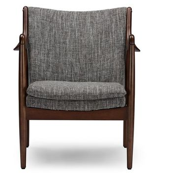 Baxton Studio Shakespeare Mid-Century Modern Retro Grey Fabric Upholstered Leisure Accent Chair in Walnut Wood Frame Set of 1